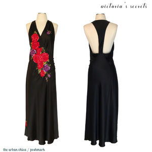 Victoria's Secret Black Silk Wrap Floral Maxi
